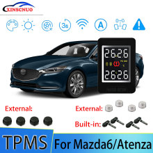 XINSCNUO Car TPMS For Mazda6/Atenza Tire Pressure and Temperature Monitoring System with 4 Sensors tn400 wireless tire pressure monitoring tpms system monitor 4 internal sensors for renault peugeot toyota and all car free ship