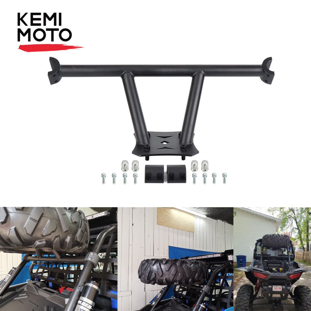 KEMIMOTO Black Rear Tire Carrier Spare Tire Mount Rack Tire Holder Frame UTV For Polaris RZR XP 1000 2014-2019