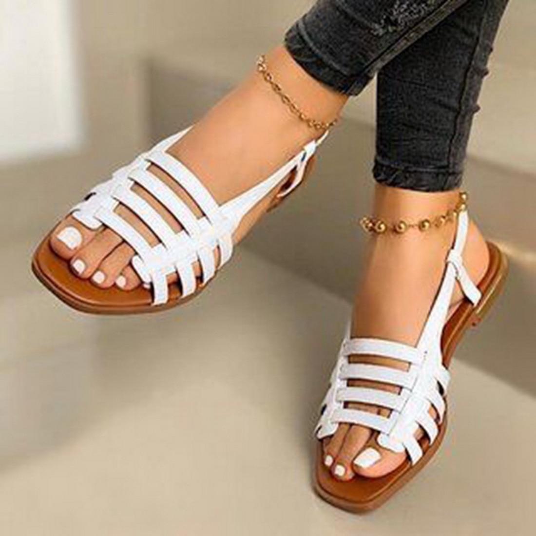 Сандалии женские в римском стиле, плоская подошва, открытый носок, Повседневная пляжная Уличная обувь, гладиаторы, летние