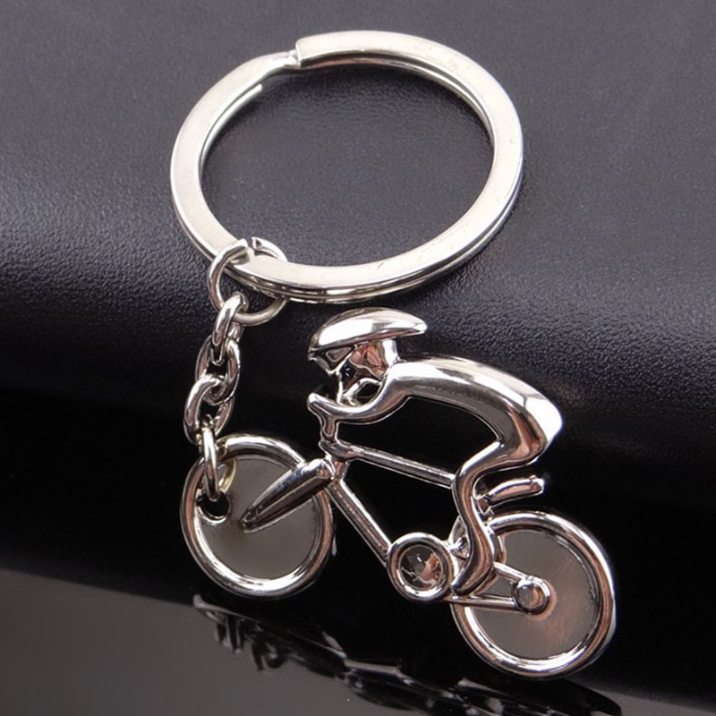 Tour Of France Simulation Metal Sporty Man Road Bicycle Figure Keychain Trinket Souvenirs Creative For Bike Cycling Lover Biker