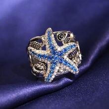 Новые серебряные кольца с синей морской звездой для женщин блестящими