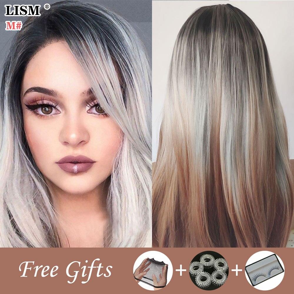 New Women Fashion Harajuku Wig Straight Hair Bundles Toupee Purple/Pink/Blue/Brown/Gold Wigs Peruque Cheveux Naturels Blonde