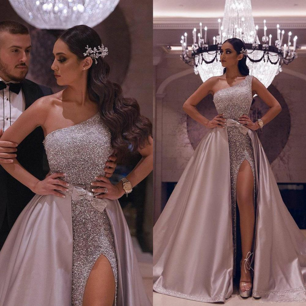 Saudi Arabia One Shoulder Prom Dresses With Detachable Train Side Split Sequins Sexy Evening Gowns Bling Formal Party Dress
