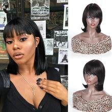 Short 98%Human Hair Wigs Bob Hair Wig Human Hair Wigs With Bangs Brazilian Straight Hair Wig For Black Women Cheap bang wigs