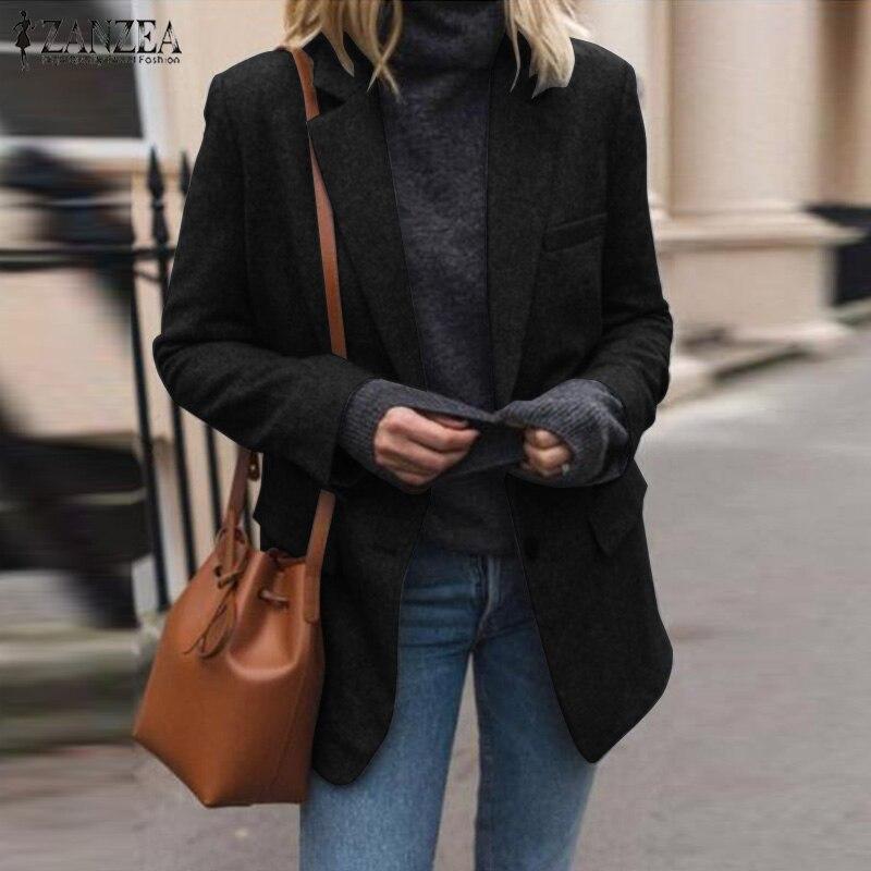 Winter Fashion Basic Blazer ZANZEA 2019 Women Long Sleeve Warm Jackets Elegant Solid Lapel Work OL Blazers Femme Coats Outwear