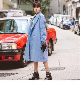 Image 4 - Abrigo liso de mezcla de lana con doble botonadura para mujer, chaqueta con bolsillos y cuello vuelto, abrigos largos azules informales para mujer