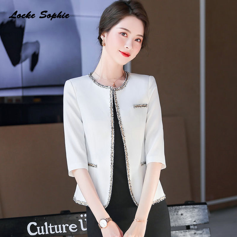 1pcs Women's Plus Size Blazers Coats 2020 Summer Cotton Splicing Middle Sleeve Small Suits Jackets Ladies Skinny Blazers Suits