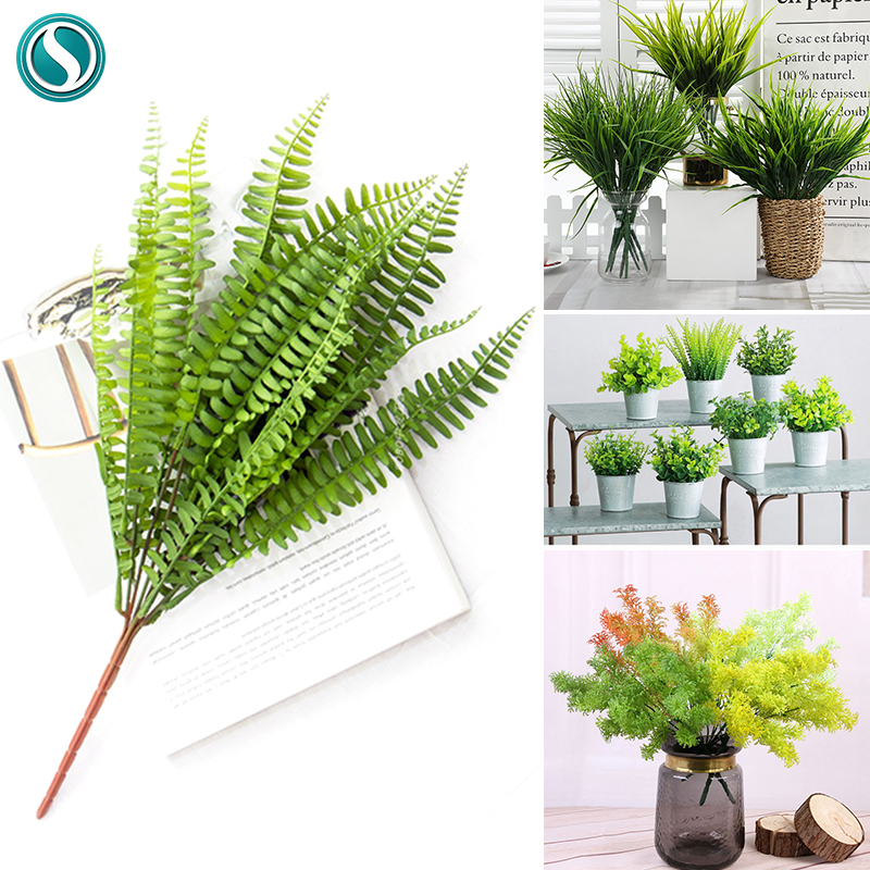 7 Branches Green Artificial Plants For Garden Bushes Fake Grass Eucalyptus Orange Leaves Faux Plant For Home Shop Decoration New-0