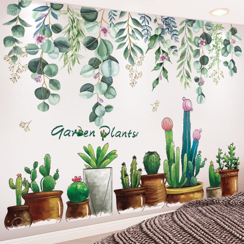 [SHIJUEHEZ] jardin plante Stickers muraux bricolage arbre feuilles Stickers muraux pour maison salon chambre décoration décor à la maison autocollant