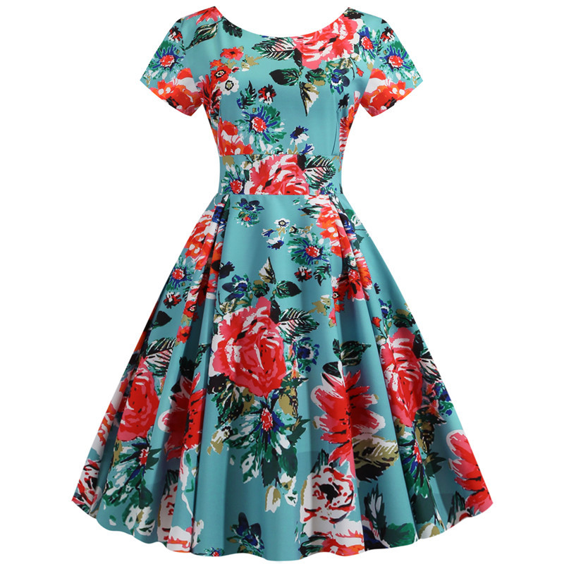 Summer Floral Print Elegant A-line Party Dress Women Slim White Short Sleeve Swing Pin up Vintage Dresses Plus Size Robe Femme 254
