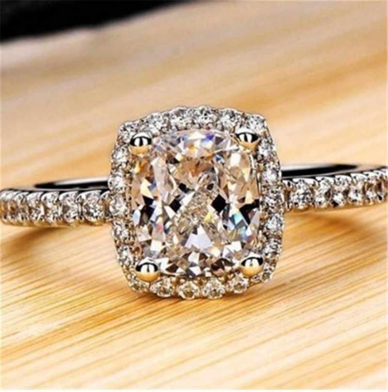 925 bagues en argent Sterling pour femmes mariée mariage Anelli bijoux à la mode fiançailles couleur or blanc Anillos Muje
