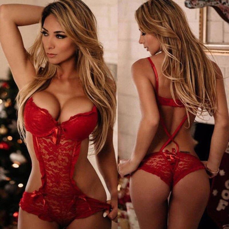 Porno Sexy Lingerie Red Lace Babydolls Women Sleepwear Nightwear Underwear Hot Erotic Lace Dress Sex Chemises