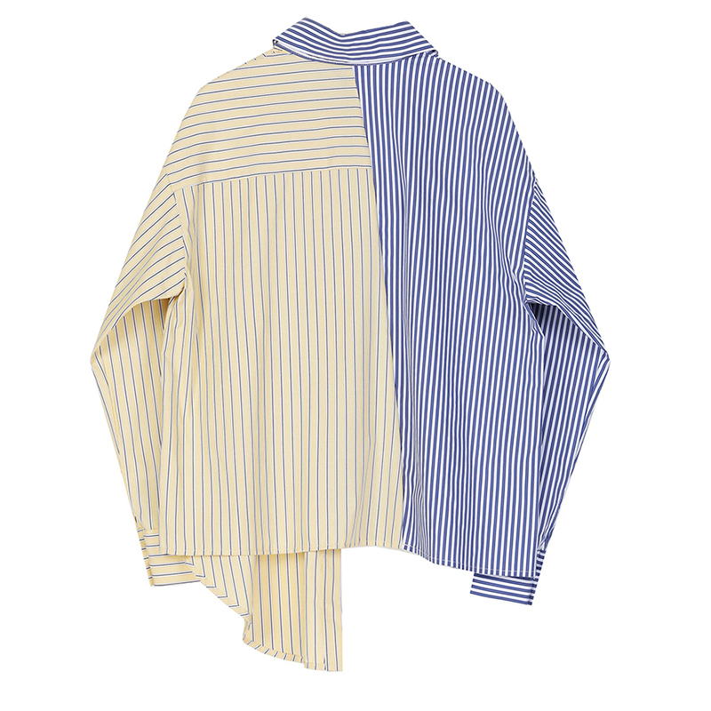 Blue Striped Lapel Long Sleeve Loose Fit Women Shirt Blouse 2