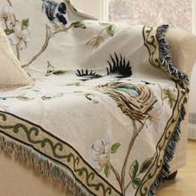 Nordic flowers and birds sand released fresh and elegant universal sofa cover cover cloth tablecloth bed