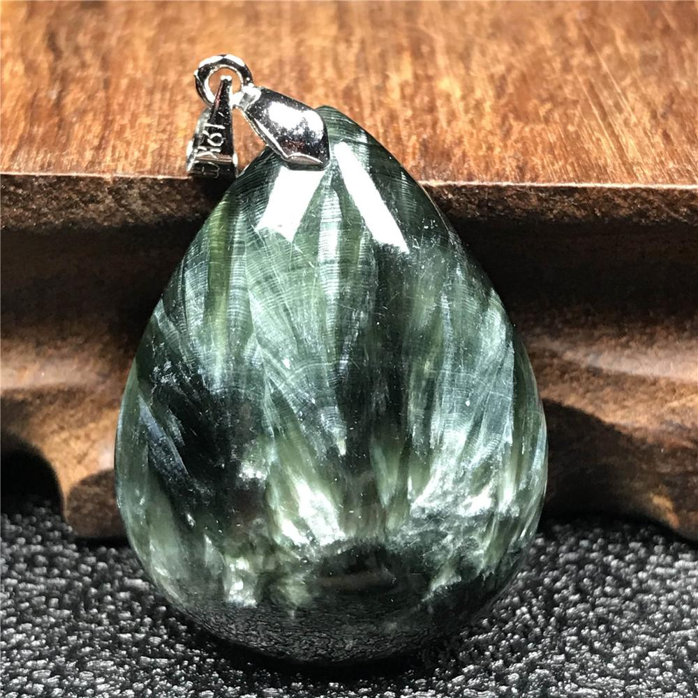Top Natural Green Seraphinite Pendant For Woman Men 32x25x10mm Water Drop Beads Crystal Gemstone Necklace Pendant Jewelry AAAAA