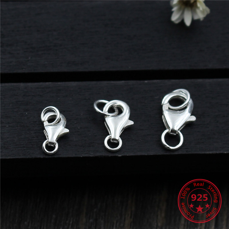 925 Sterling Silver Metal Carabiner Hook Lobster Buckle Bracelet Necklace End Connector Making For Jewelry DIY Spring Buckle