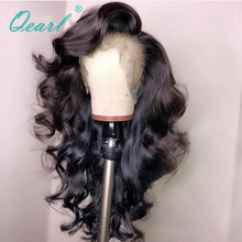 Loose Deep Black Full Lace Human Hair Wigs Side Parting Wig with Baby Hairs Preplucked HairLine Brazilian Remy Qearl