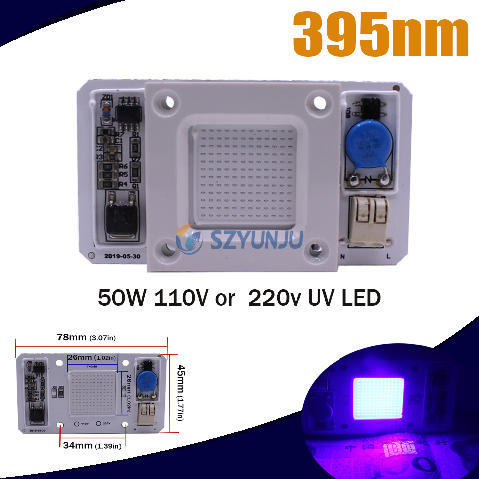 50W Led COB UV Lamp Chip Smart IC 110V/220V 395nm 400nm DOB AC Ultraviolet +Heatsink+12V 1.25A LED Power