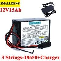 Batteria ricaricabile al litio 12V 15ah 18650 11.1V 15000mAh con PCB per lampada ernia, amplificatori, monitoraggio caricabatterie 12.6V 3A