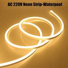 Неоновые полосы ЕС 220V Водонепроницаемый наружного освещения сада белый/теплый белый 2835 120 светодиодный s/m лента гибкий светодиодный полосы ...