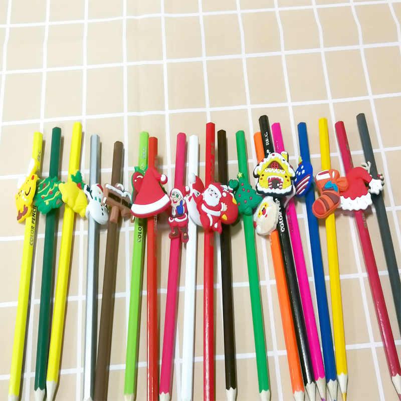 19 قطعة/الوحدة الكرتون سانتا كلوز الشكل القلم البلاستيكية قبعات قطعة تزيين توضع في أعلى القلم الرصاص مكتب القرطاسية مدرسة التموين القش الإكسسوارات X'mas هدية الاطفال