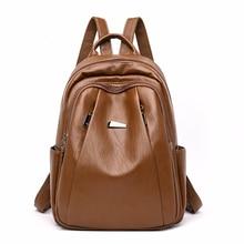 Women Leather Backpacks High Quality 2019 Backpack For Girls Preppy School Bag For Girls Mochilas Ladies Bagpack Vintage Pack