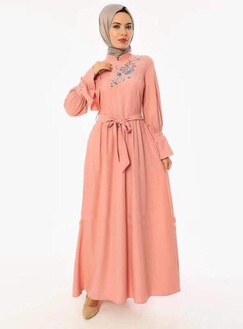 Дубай арабское мусульманское платье с вышивкой женское платье на шнуровке с расклешенными рукавами большие качели тонкие платья абайя