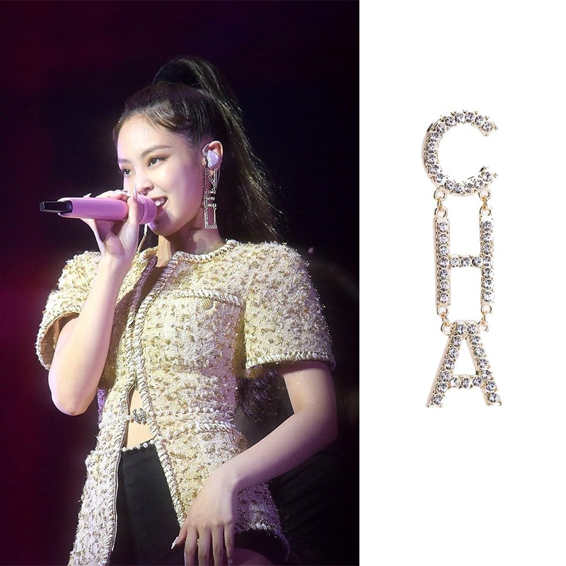 Kpop Blackpink JENNIE Same Evening Party Fashion Earring Rhinestone Letters CHA Number 5 Tassel Long Section Asymmetric Earrings