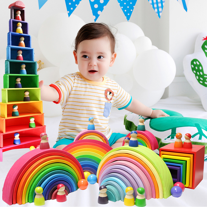 Montessori Wooden Building Blocks Childhood Learning Toy Early Children Baby Rainbow Wooden Blocks Educational Building Toy Gift