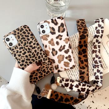 Leopard Print etui na telefon dla iPhone 11 12pro Max XR XS Max X 8 7 6S Plus luksusowy pasek miękkiego silikonu smycz pokrywa dla iPhone 12 tanie i dobre opinie Ranipobo CN (pochodzenie) Bumper Fashion Leopard Print Lanyard Phone Case Apple iphone ów Iphone 6 Iphone 6 plus IPHONE 6S