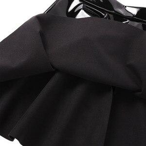 Image 3 - Womens Wetlook Mini Clubwear Sexy Pole Dance Costumes Leather High Waist Fashion Flared Pleated A Line Circle Mini Skater Skirt
