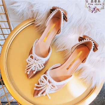 Luxury Pearls Bead Bow High Heels Sandals Women 2020 Crystals Buckle Pointed Toe Ladies Summer Shoes Woman Evening Party Shoes