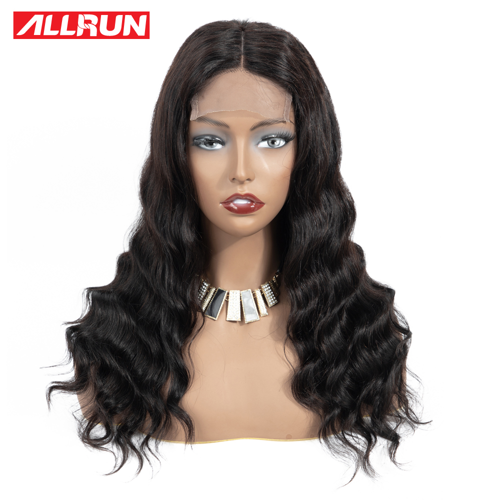 H34779d3ee621450484c7878e13ad9c3bF Allrun 4*4 Lace Closure Wig Malaysia Human Hair Wigs Body Wave 130% Low Ratio with baby hair Non-Remy Short Bob Lace Wig