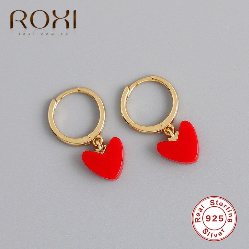 ROXI Korean Statement Red Heart Earrings 925 Sterling Silver Geometric Cirlce Heart Dangle Drop Earrings For Women Jewelry Gifts