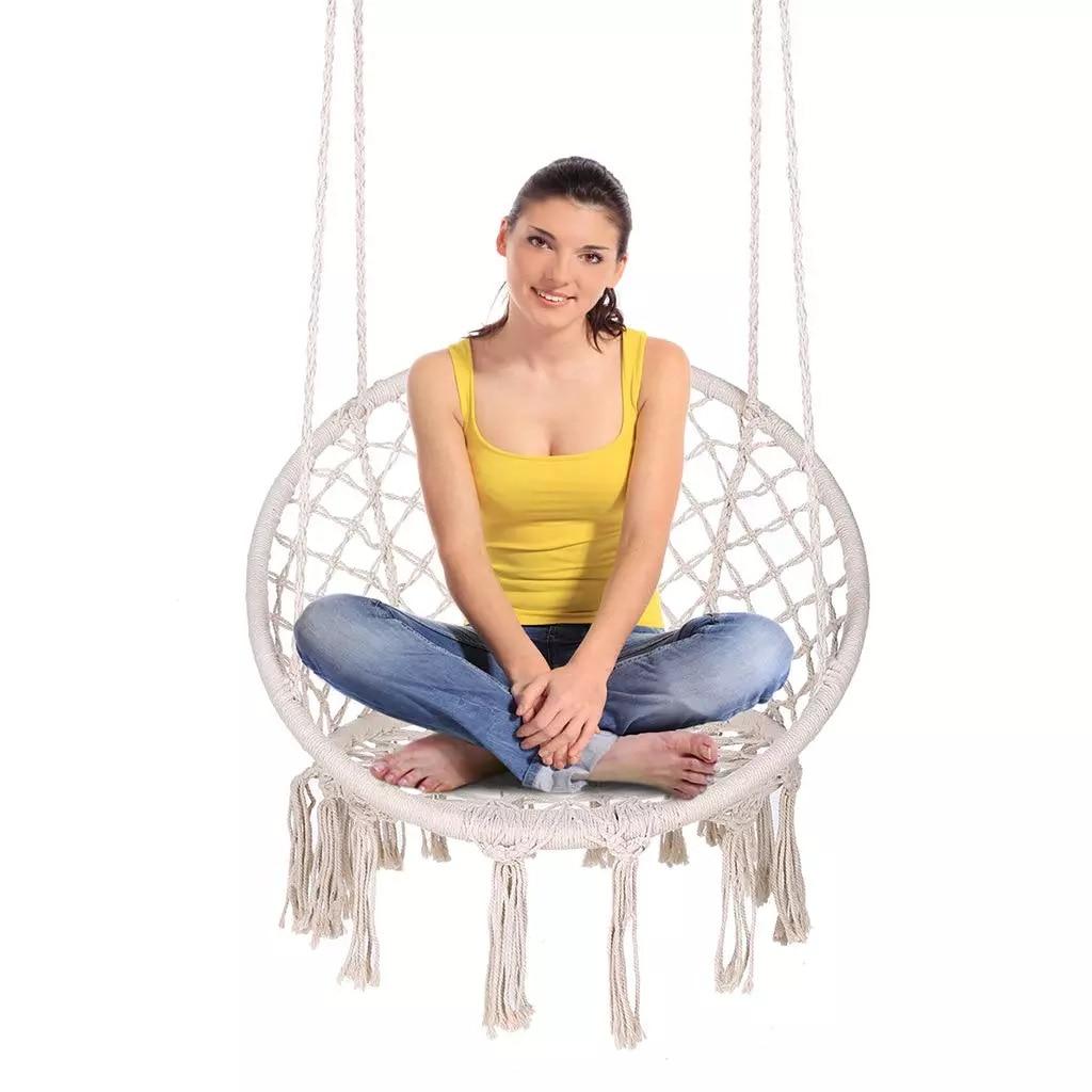 Rotondo Altalena Amaca Sedia Appesa Indoor Outdoor Mobili da Giardino Dormitorio Per Bambini di Età Confortevole Sedia Amaca Letto