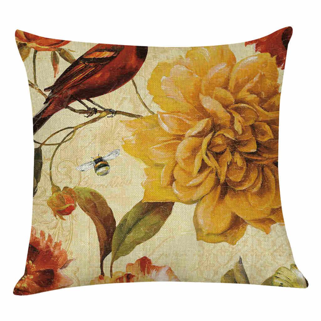 الكتان القطن الطيور و الزهور غطاء الوسادة رمي الوسائد خمر كيس وسادة المطبوعة المنزل وسادة للديكور غطاء