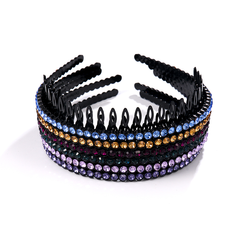 Shiny Colorful Rhinestone Hairbands For Women Fashion Crystal Headband With Teeth Nonslip Elegant Girls Hair Accessories