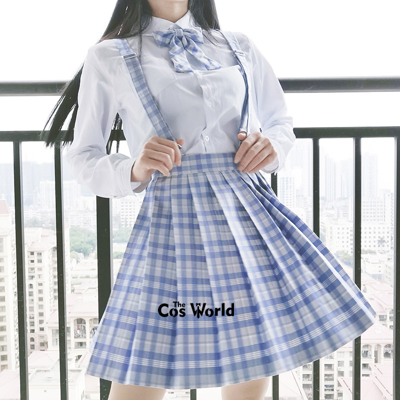 [Taro Ice Cream] Girl's Summer High Waist Pleated Skirts Plaid Skirts Women Dress For JK School Uniform Students Cloths