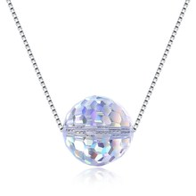 все цены на New S925 sterling silver round faceted crystal beaded romantic color necklace pendant gentle simple jewelry diamond chain онлайн