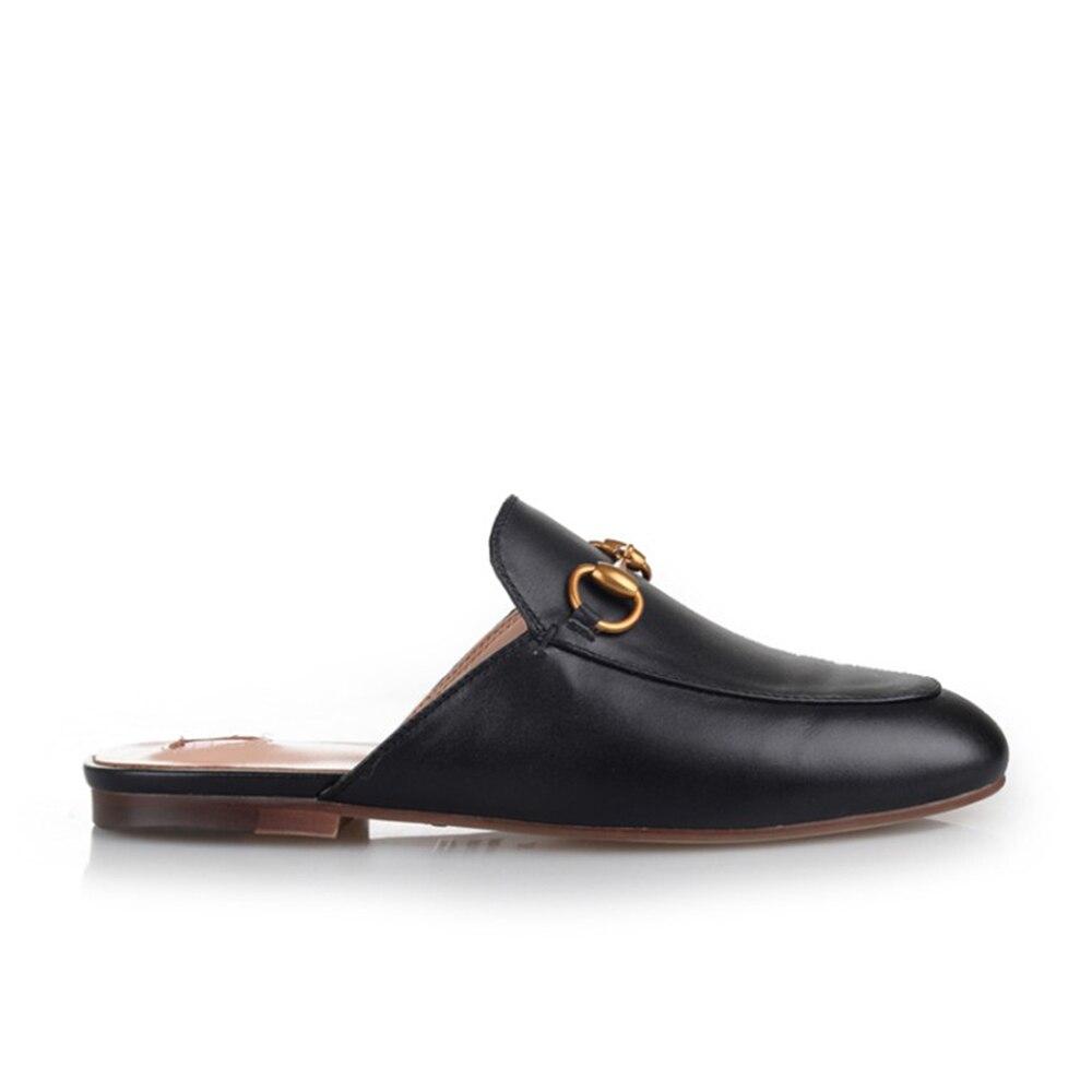 Mode grande taille pantoufles en cuir femmes pantoufles chaussures noir sans lacet mocassins véritable semelle souple chaussures plates T2