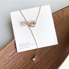 2020 New Korean Vintage Bowknot Rhinestone Necklace For Women Statement Gold Tassel Choker Fashion Jewelry Accessory 2020 new korean vintage star and moon rhinestone bracelet for women gold pearl girl bracelet gifts fashion jewelry accessory