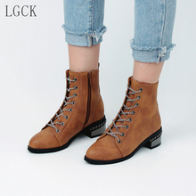 Plus Size 34-48 Women Shoes Fashion Vintage Boots Thick Short Boots Leather Ankle Boots Winter Warm Lace-up Punk Martin Boots plus size 34 43 fashion women boots with warm plush shoes spring autumn winter lace up punk flats round toe ankle martin boots