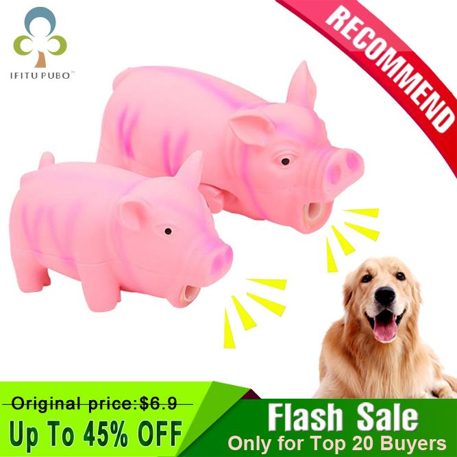 1Pc Cute Rubber Sound Pig Grunting Squeak Latex Pet Chew Toys for Dog Squeaker Chew Training Puppy Supplies Pet Products GYH(China)