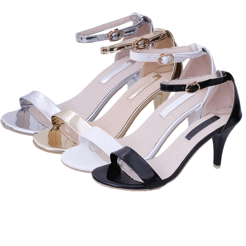 Women Sandals Shoes 2020 Summer New High-heeled Stiletto Slim Open-toed Buckle Fashion Black Shoes Ladies Sexy High Heels Woman