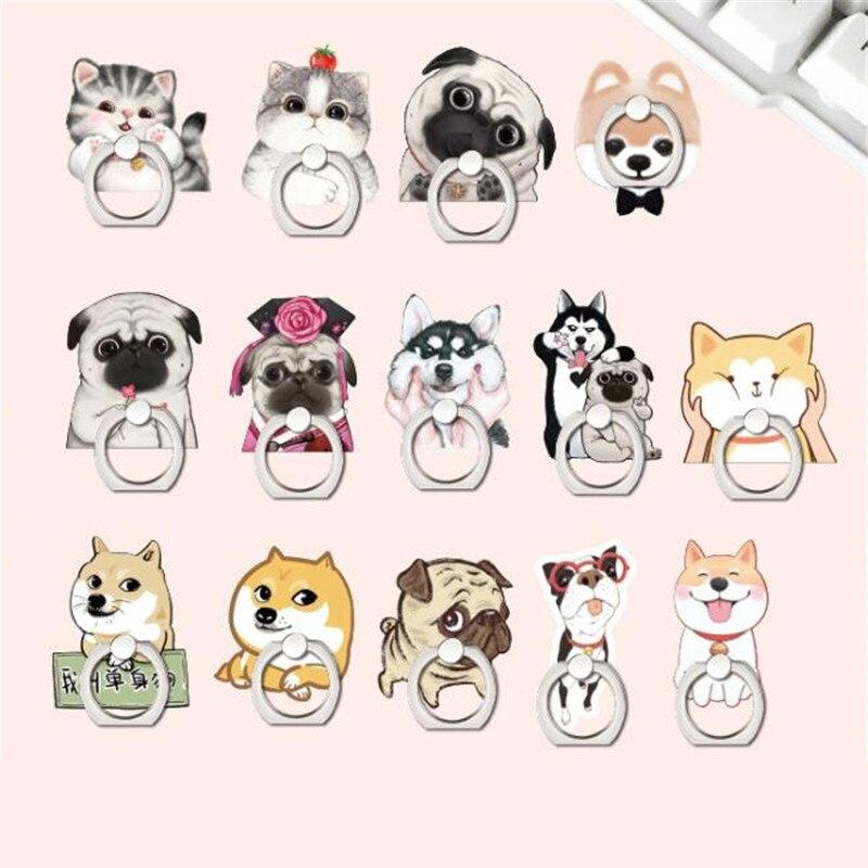 Animals Dog Corgi Pug Cat Finger Ring Phone Stand Holder Car Mobile Phone Holder Stand Suporte Celular For IPhone 11 All Phone