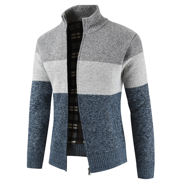 NEW Men's Fleece Sweater Striped Pockets Winter Coats Patchwork Casual Warm Sweater Coat Zipper Jackets Size M-3XL Outwear
