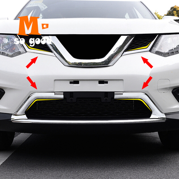 цена на 2014 2015 2016 for nissan x-trail XTrail Rogue t32 Front Upper Grid Grille Grill Moulding Stick Fram Lamp Trim ABS Accessories
