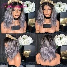 Lace Wigs Human-Hair Gray Ombre Brazilian 13x4 613 Wavy for Women Remy