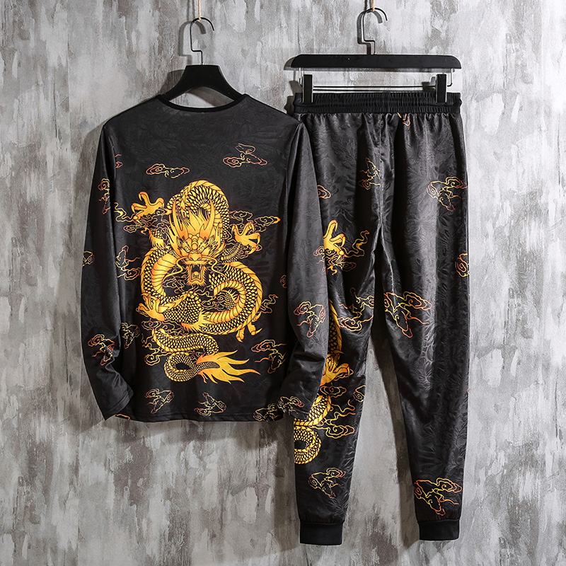 2019 Autumn Spring Chinese Dragon Tracksuits Mens Sport Set Hoodie Pants Sportswear Men Brand Sporting Suit Track Print Clothes