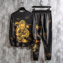 2019 Autumn Spring Chinese Dragon Tracksuits Mens Sport Set Hoodie Pants Sportswear Men Brand Sporting Suit Track Print Clothes(China)